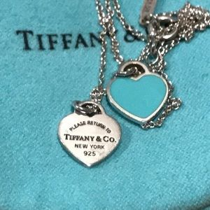 Authentic Tiffany & Co. Necklace w/ two hearts